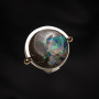 Silver and gold opal ring