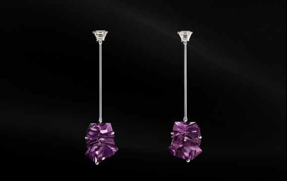 Arracades diamants i amatistes Munsteiner