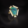 Segments black opal gold ring