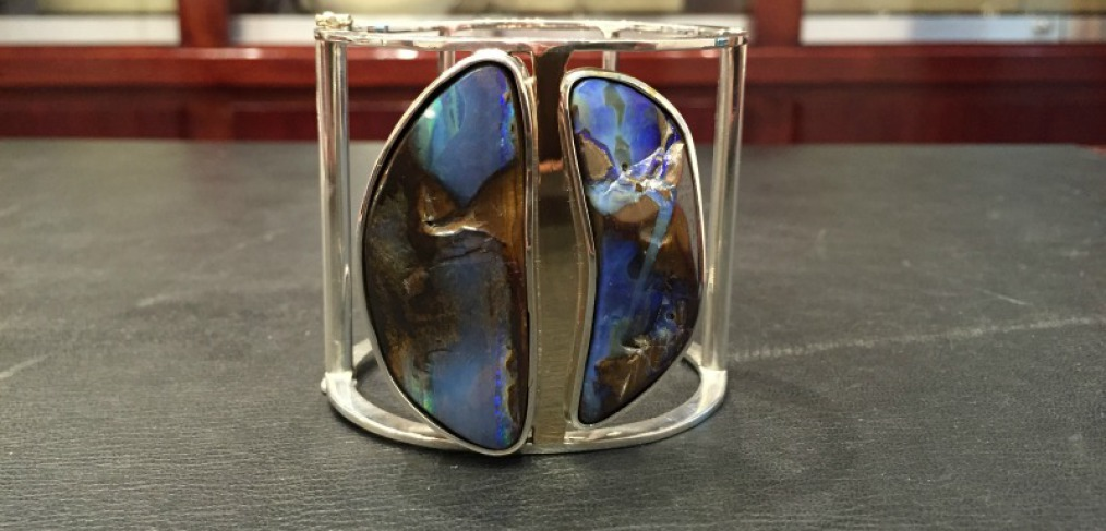 Silver and gold opal cuff