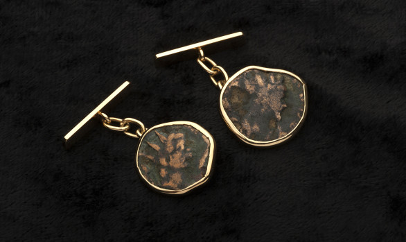 Gold Roman coin cuff-links