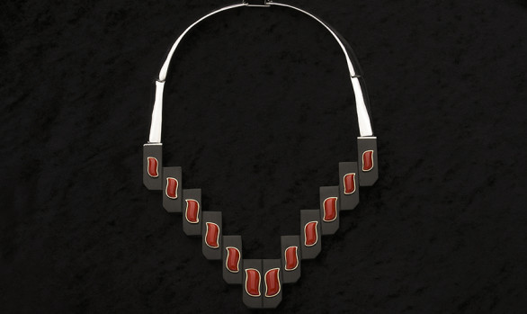 Siver and gold, ebony and coral necklace