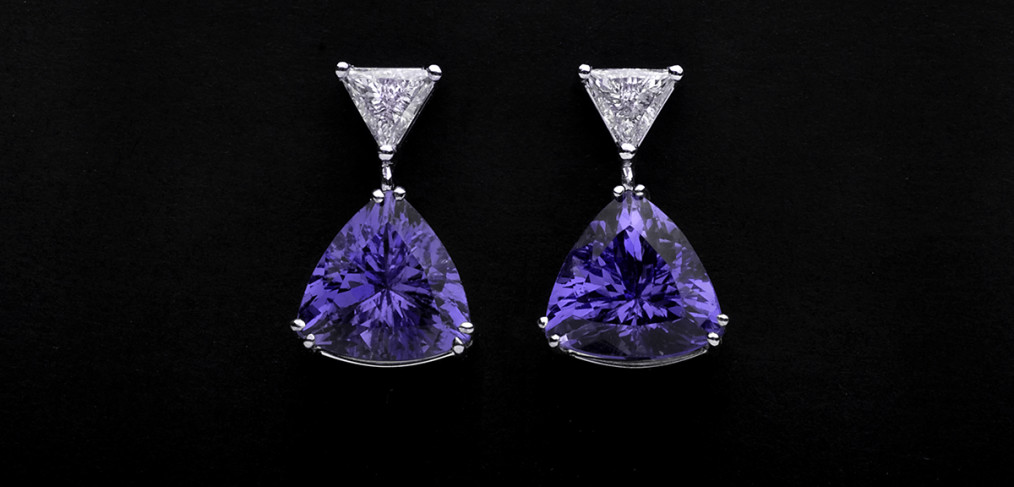 Arracades diamants tanzanites