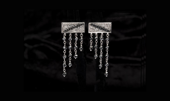 White gold black and white diamond earrings