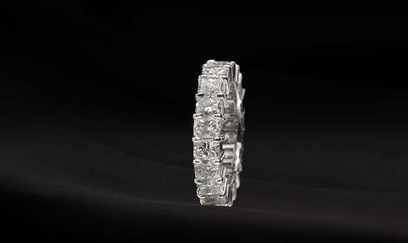 Radiant-cut diamond eternity ring