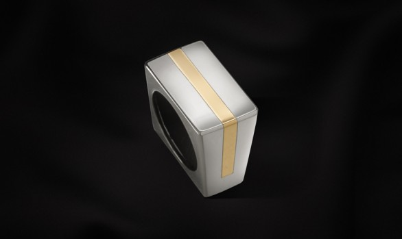 Gold, silver square ring