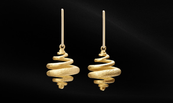 Espiral yellow gold earrings