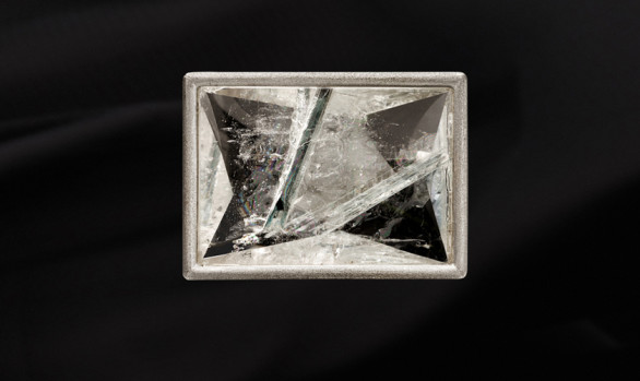 White gold Munsteiner quartz brooch