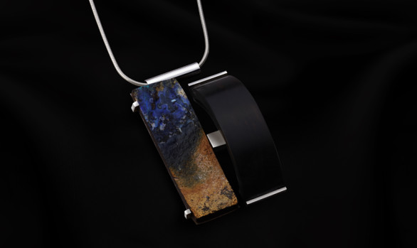 Silver ebony and opal pendant