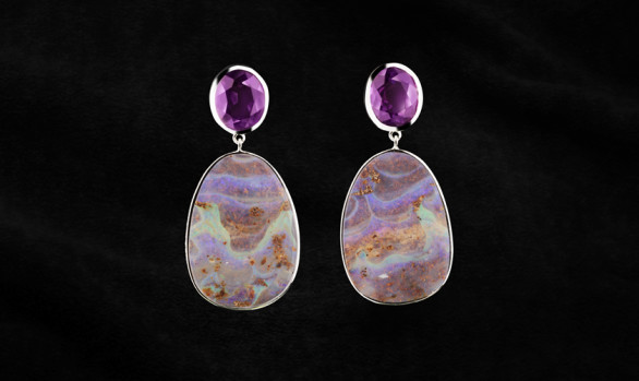 Silver, opal and amethyst earrings