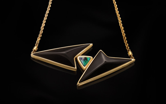 Gold opal and onyx necklace