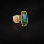 Gold opal open ring