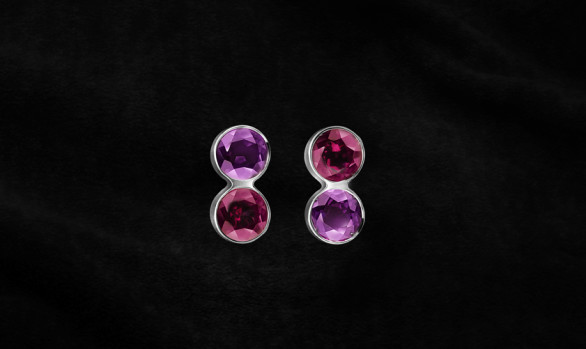 Coloured stone silver earstuds
