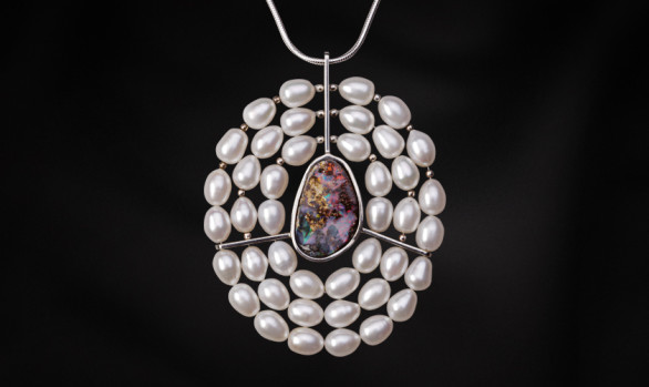 Silver opal and pearl pendant