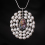 Penjoll plata òpal perles