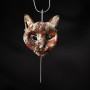Silver and copper cat sculpture pendant