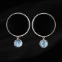 Silver onyx aquamarine earrings