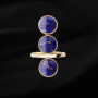 Yellow gold three laspislazuli ring