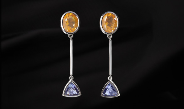 Tanzanite and citrine silver earrings