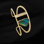Yellow gold diamond opal cuff