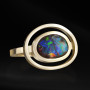 Yellow gold black opal ring
