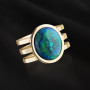 Yellow gold Australian black opal ring