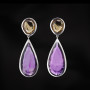 Silver citrine amethyst earrings
