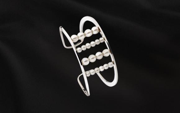Brazalete plata perlas