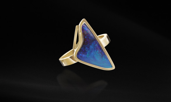 Gold triangle opal ring