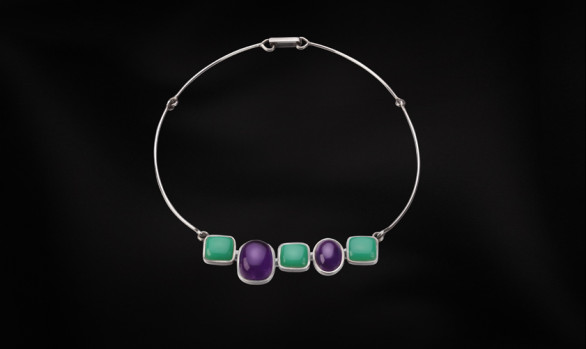 Silver, amethyst and chrysoprase necklace
