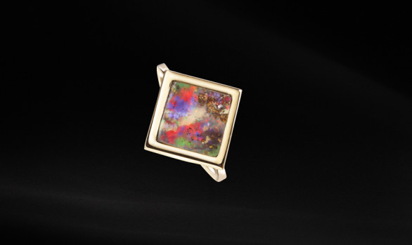 Gold opal rhombus ring